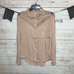 Free People Peach Lace Button Down Tunic Size S